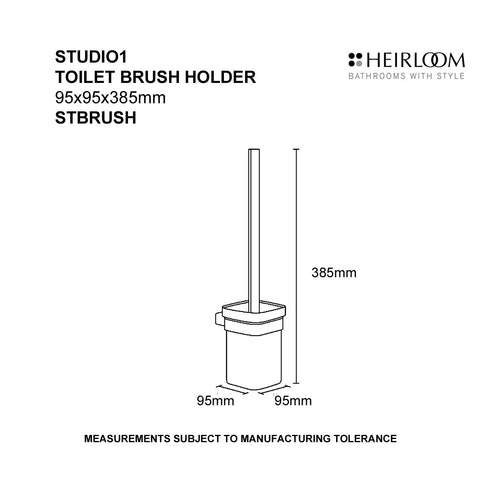 HEIRLOOM STUDIO 1 WALL MOUNTED TOILET BRUSH SET BLACK