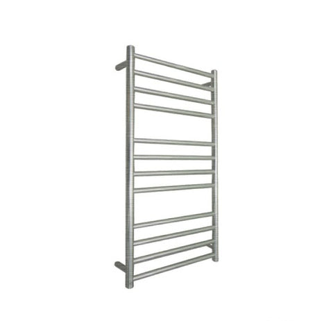 ELITE ROUND HEATED TOWEL LADDER 1200X500MM BRUSHED FINISH