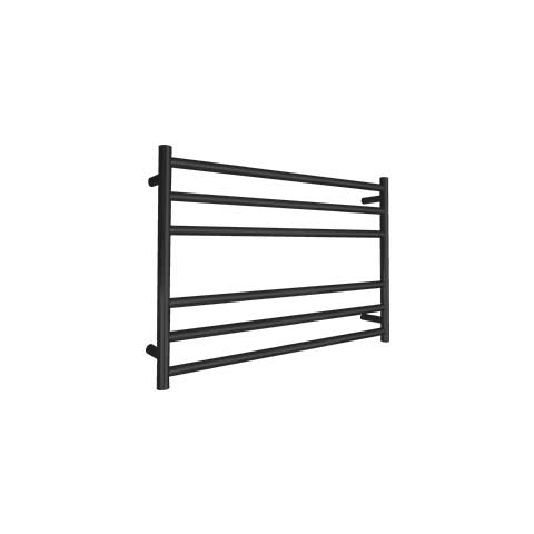 ELITE ROUND HEATED TOWEL LADDER 600X850MM BLACK