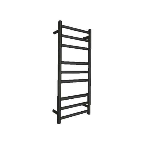 ELITE ROUND HEATED TOWEL LADDER 900X400MM BLACK
