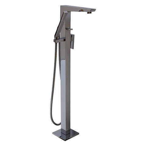 PLUMBLINE METRO FLOOR MOUNTED BATH FILLER WITH HAND SHOWER