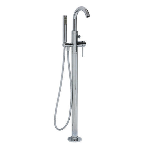PLUMBLINE TUBE FLOOR MOUNTED BATH FILLER WITH HAND SHOWER