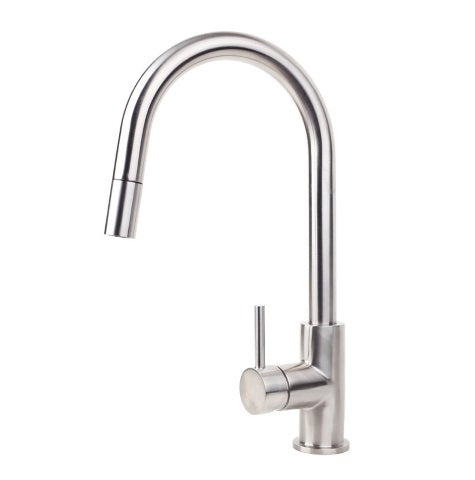 SWISS KITCHEN MIXER WITH PULL OUT SPRAY - BRUSHED STAINLESS