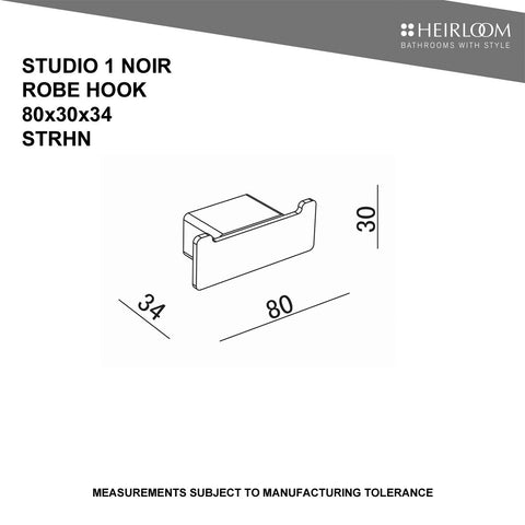 HEIRLOOM STUDIO 1 ROBE HOOK BLACK