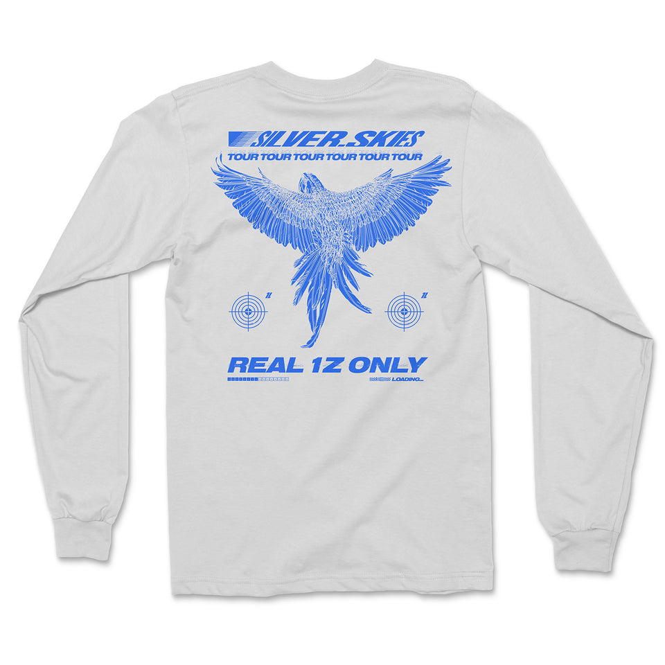 'Silver Skies Tour' Long Sleeve T-Shirt (White)