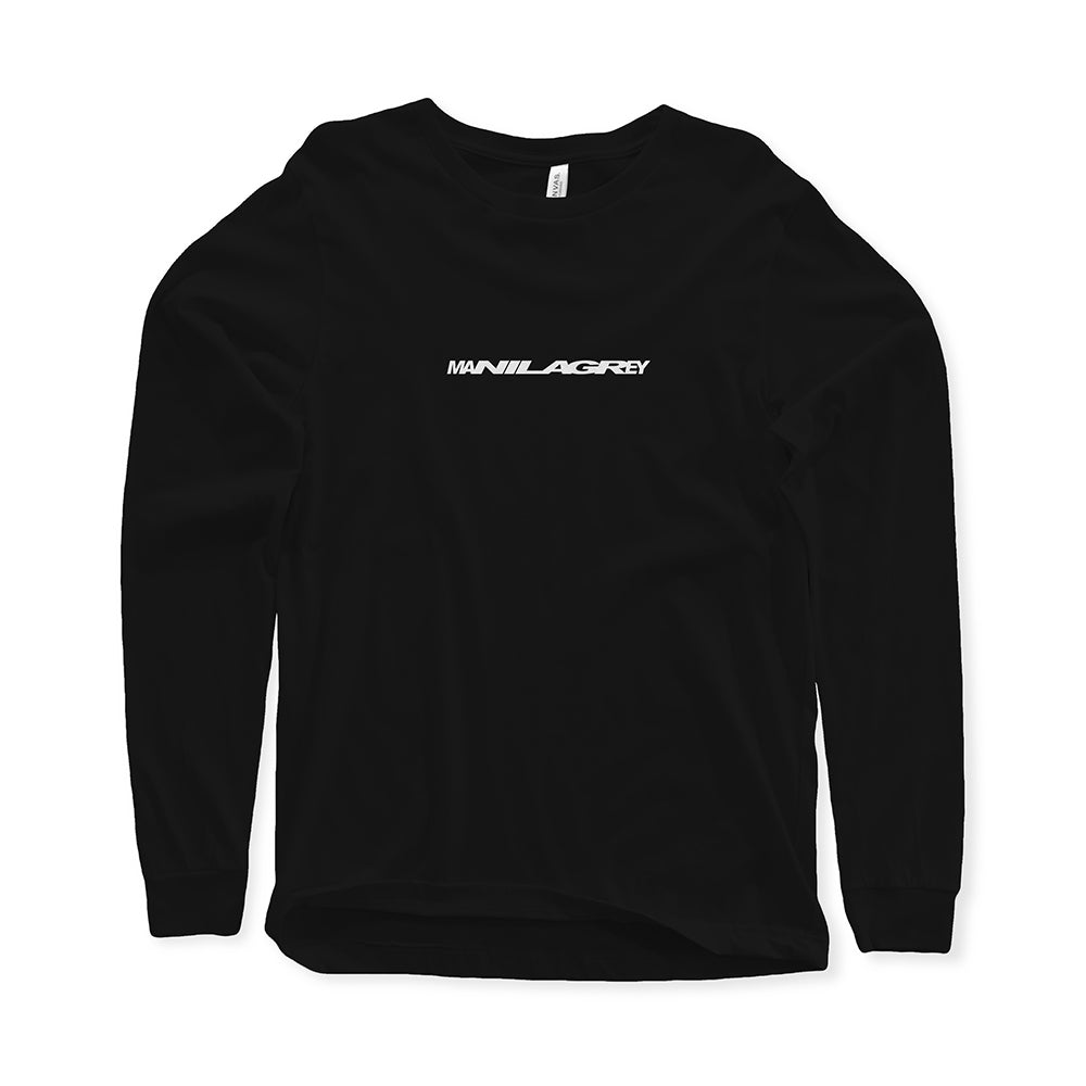 MANILA GREY 'Stretcher Logo' Black Long Sleeve T-Shirt