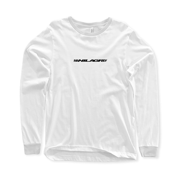 MANILA GREY 'Stretcher Logo' White Long Sleeve T-Shirt