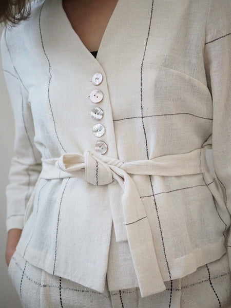 BELTED SHIRT WITH CHECKS