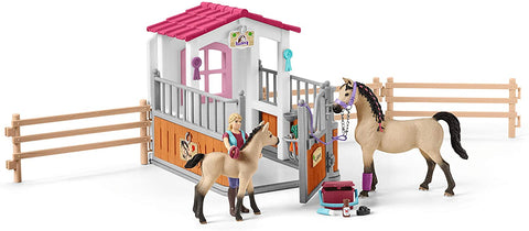 Image of Schleich Horse Stall with Arab Horses and Groom Playset