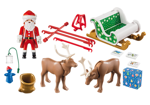 Image of Playmobil 9496 Christmas Santa's Sleigh with Reindeer