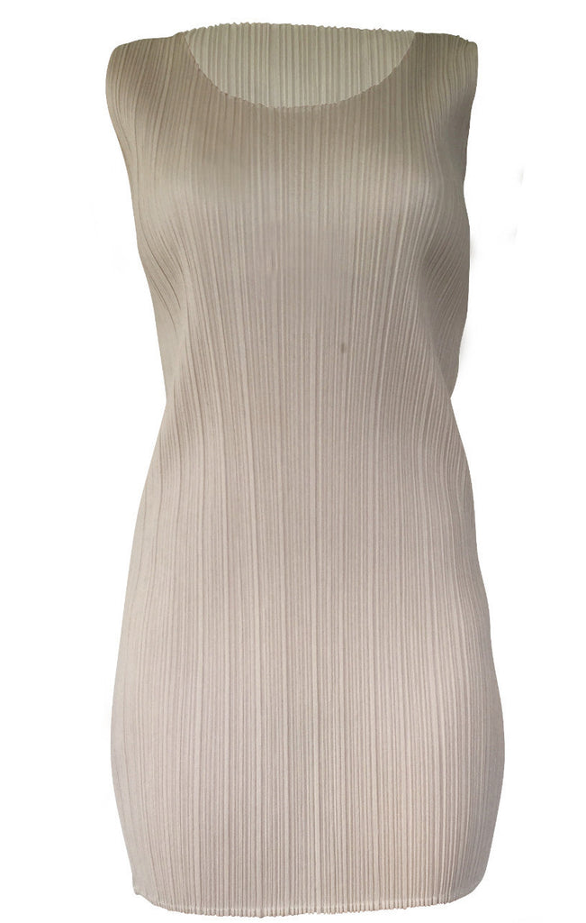 Champagne Pleat Mini Dress