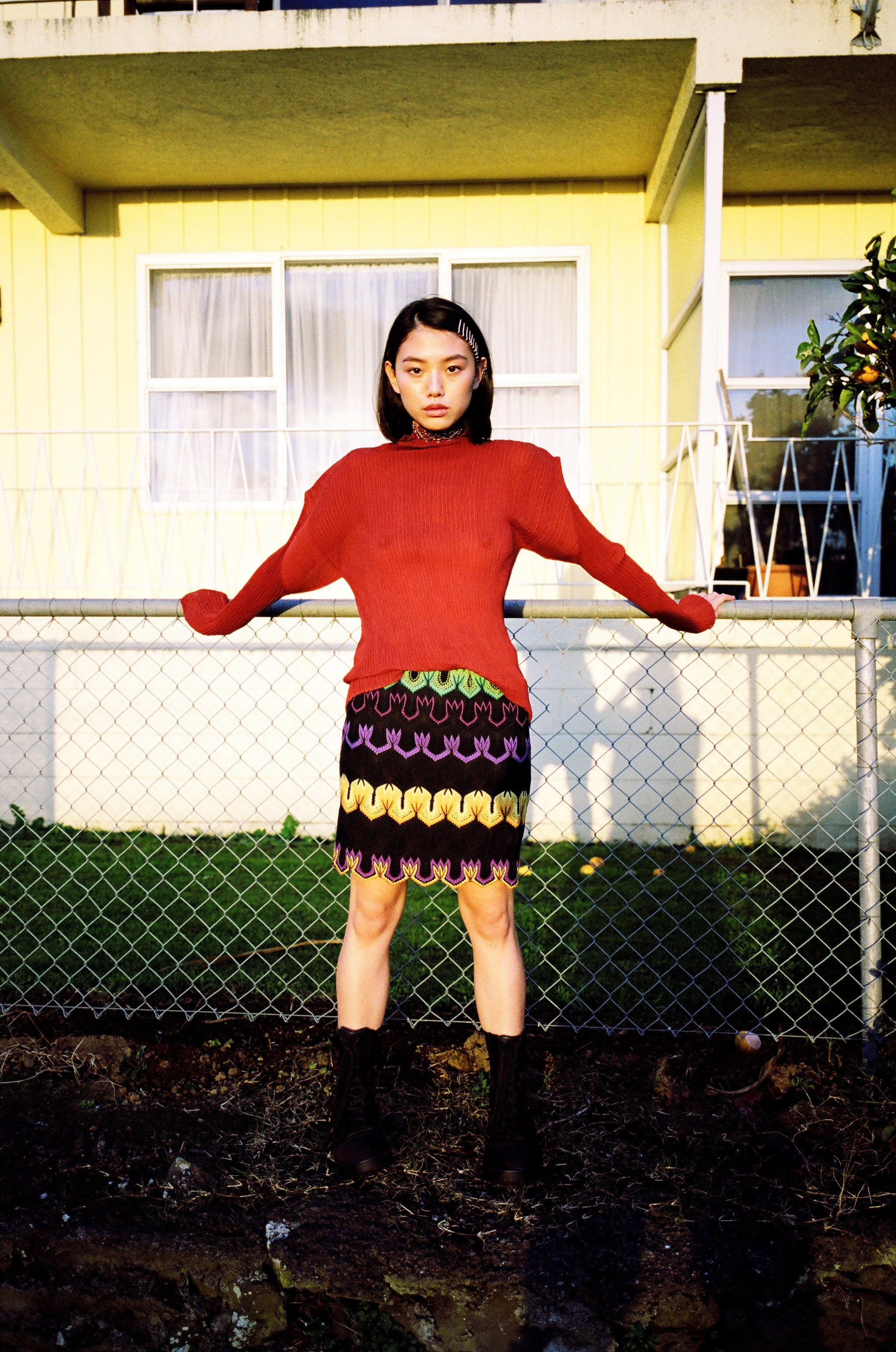 Knitted Zig Zag Mini Skirt