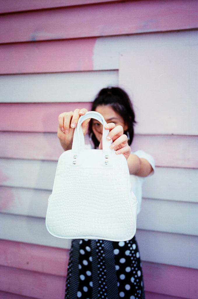 Mini White Patent Croc Bag