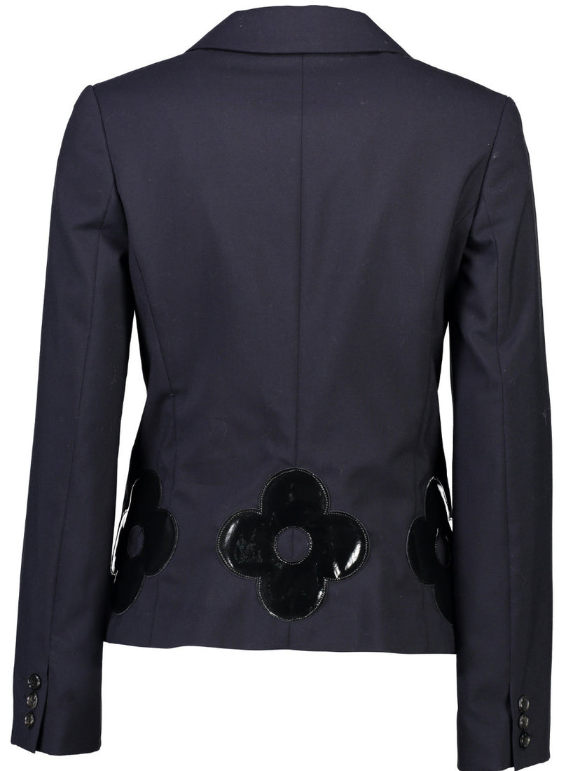 Flower Applique Wool Blazer