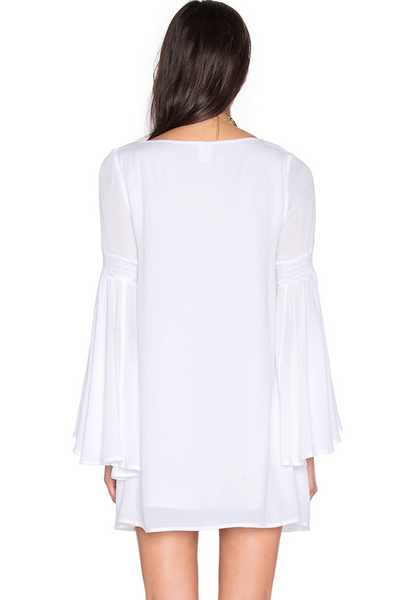 White Bell Sleeve Cover-Up - Zoni