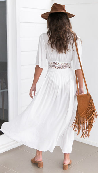 White Hollow Out  V-neck Boho Maxi Beach Dress - Zoni