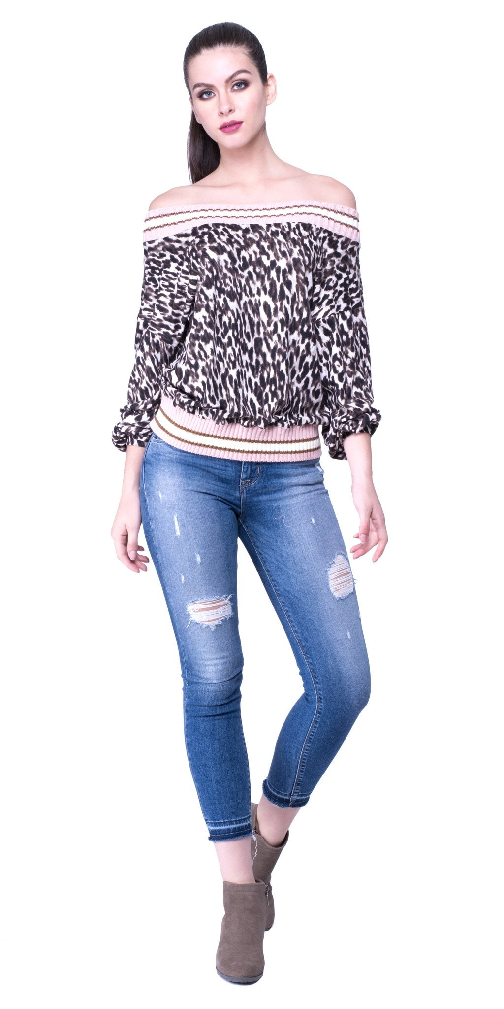 Sweater Trim Leopard Top