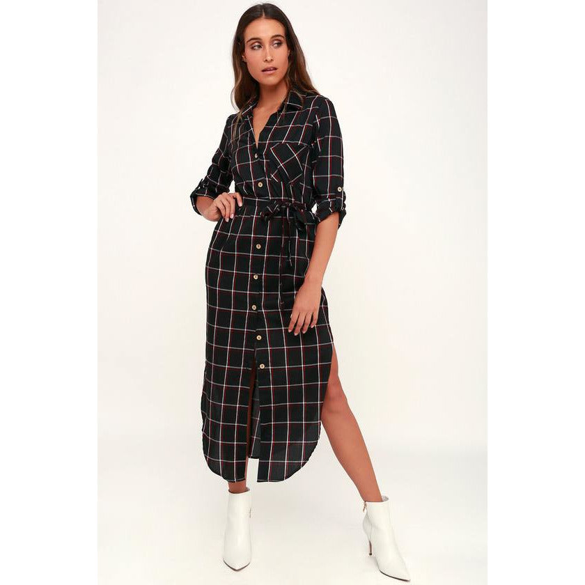 Lucy Love MonMartre Plaid Shirt Dress