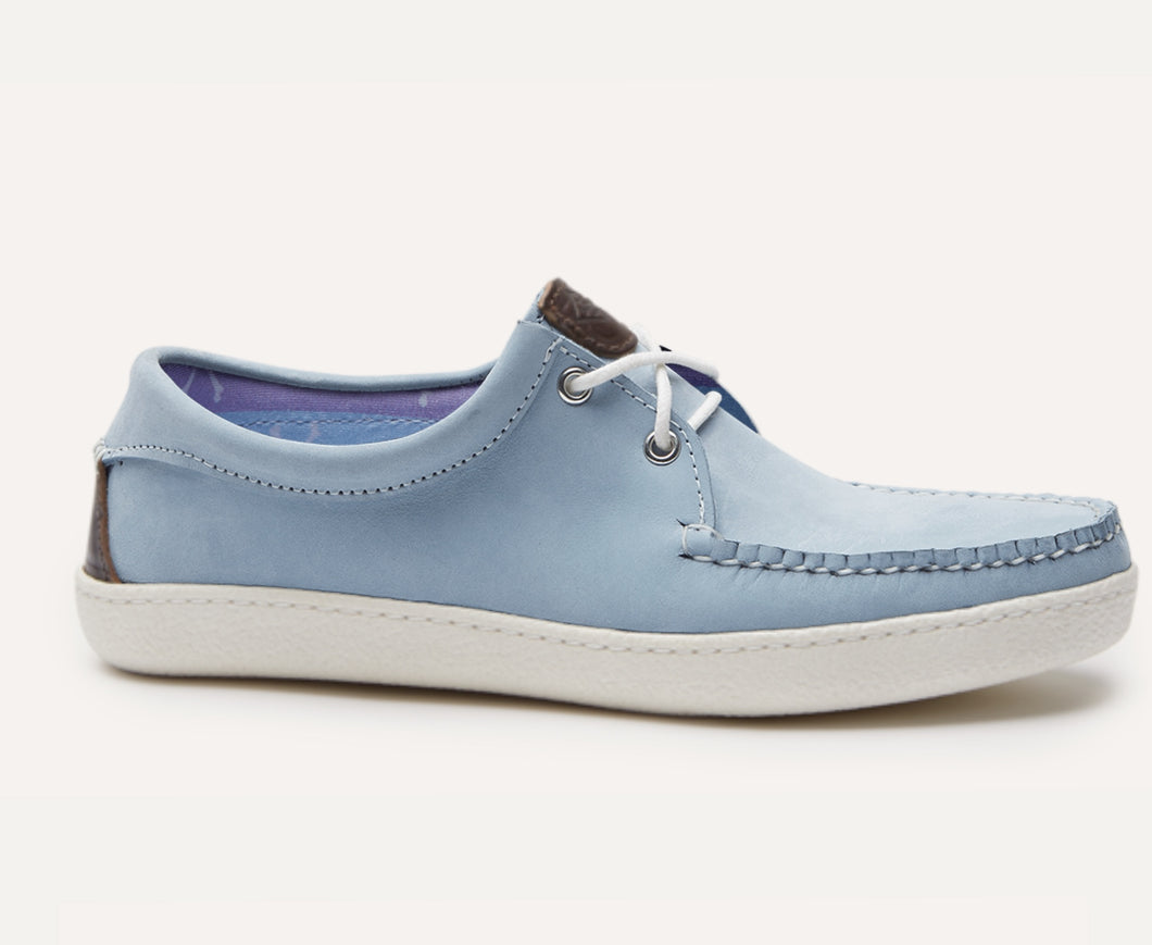 Custom Blue Leather Boat Shoe