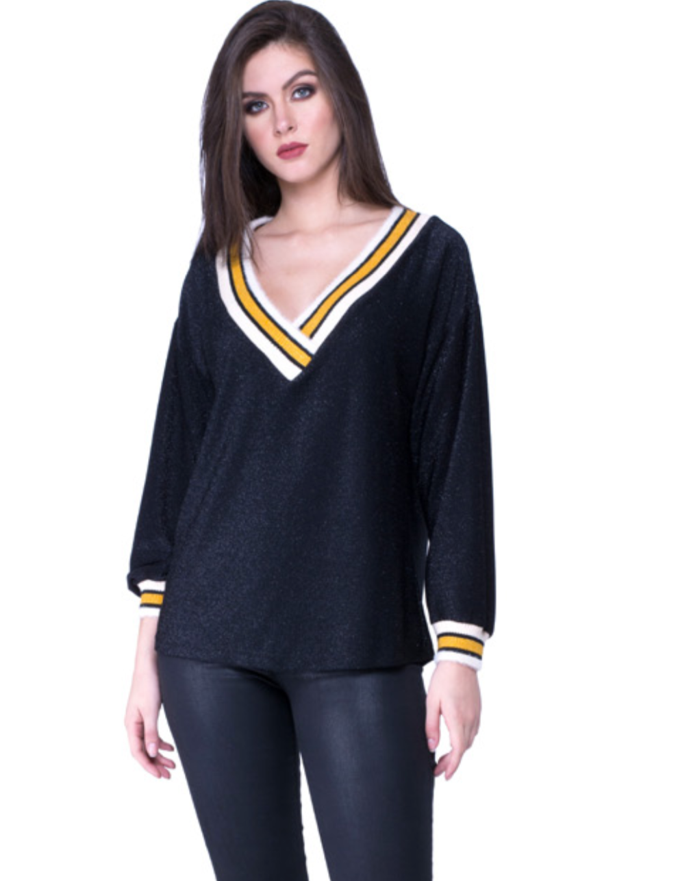Varsity Sweater Sparkle Top