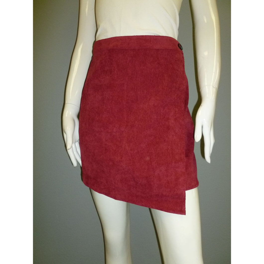 Cranberry Corduroy Wrap Skirt