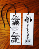 "Hip hop inspired ""OPP"" bookmark - Wonders of the World Book and Toy Store"
