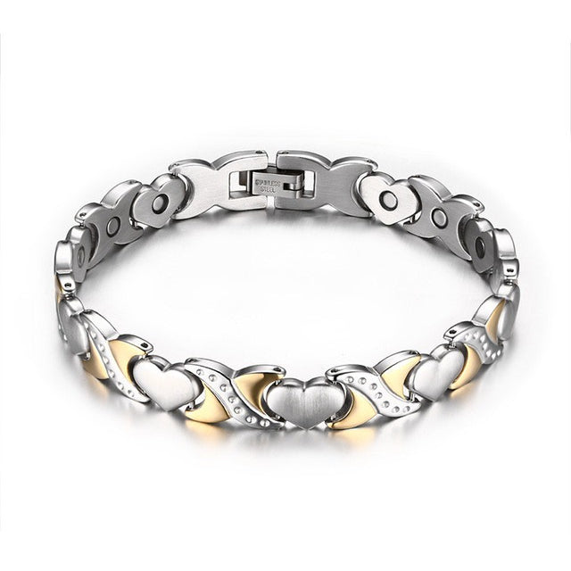 Magnetic Charm Bracelet: Magnetic Therapy Stainless Steel Gold & Silver Heart Charm