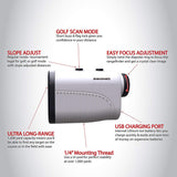 Aurosports 1200 yard USB Rechargeable Premium Laser Rangefinder White Golf & Hunting Range Finder