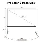 Deeteck 100 inch HD Portable Projector Screen With Stand & Carry Bag,16:9 Foldable Home Projector Screens Anti-Crease Indoor Movie Projection Screen for Home Theater,Party,Office,Games,Outdoor,Support Double Sided Projection