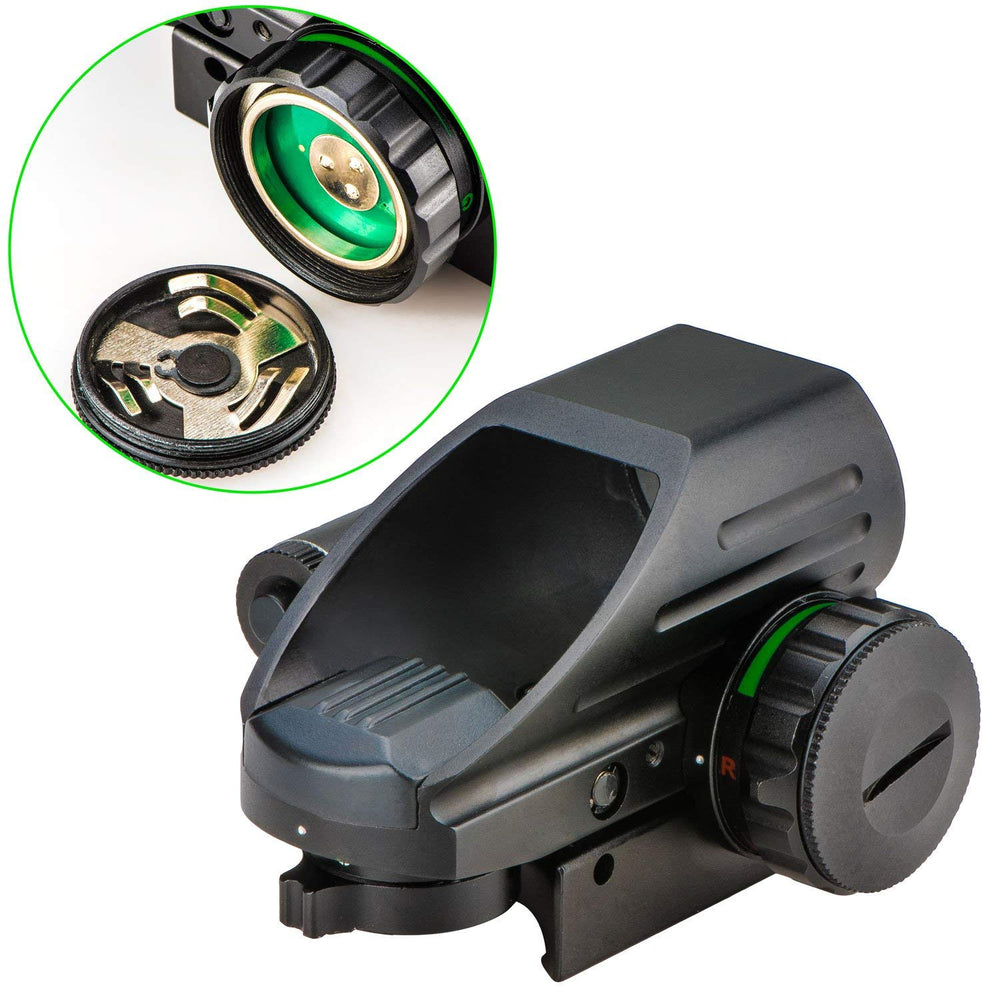 Aurosports 1x22x33 Reflex Sight Red and Green 4 Reticle Dot Sight with 2mW Gun Sight Laser