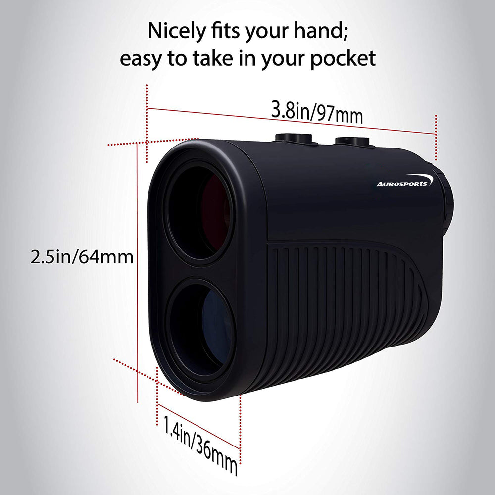 Aurosports 1200 yard USB Rechargeable Premium Laser Rangefinder  Golf & Hunting Range Finder-Black