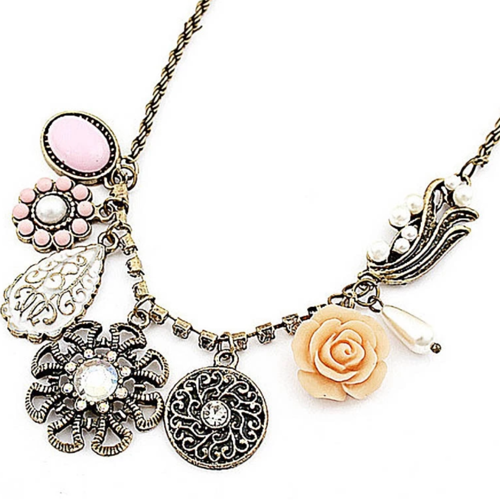 res gold rickis necklace filigree metal mixed rose flower hi rhodium