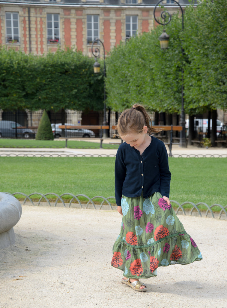 Place des Vosges girls long floral dress Victoria Road Paris Trip