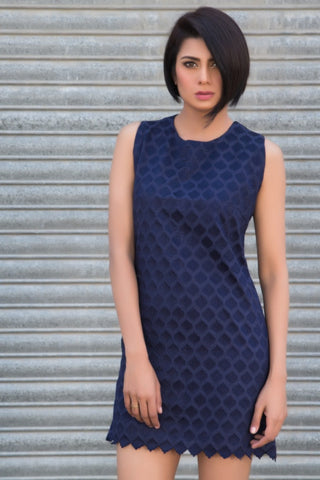 The Audrey Scalloped Shift (Navy)
