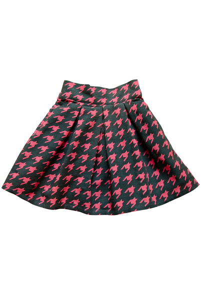 The Ella Skirt | Pink & Navy Houndstooth Print