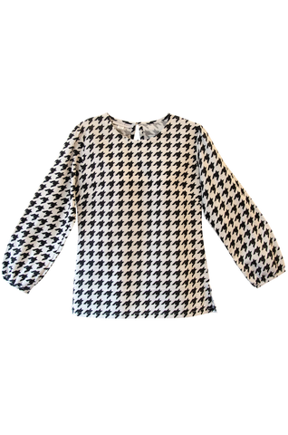 The Paula Tunic | Black & White Houndstooth Print