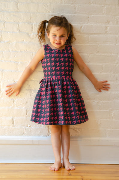 The Anna Twirly Dress | Pink & Navy Houndstooth Print