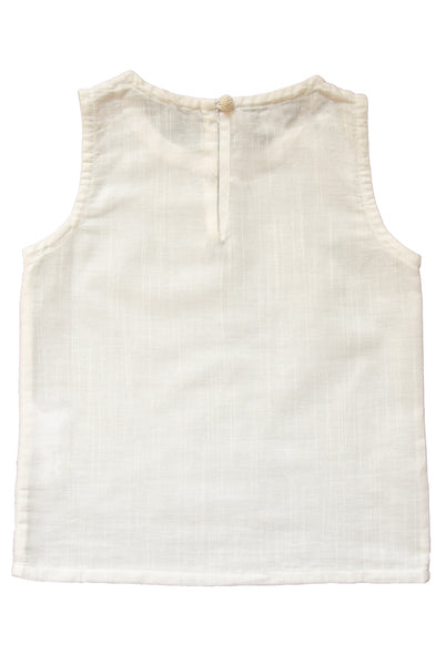 The Ophelia Top | White Slubbed Cotton