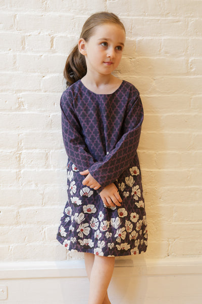 The Greta Long Sleeve Shift in Violet Cascade Floral - SAMPLE