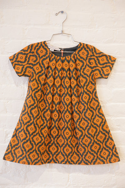 The Princess Pleated Dress in Autumn Maple Ikat - SAMPLE