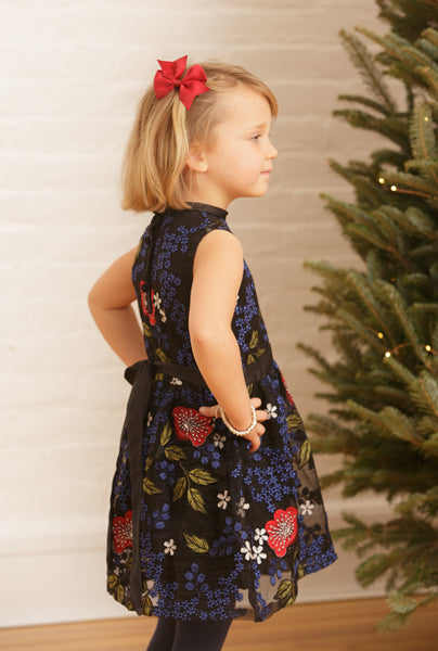 The Elizabeth Holiday Dress | Black Alyssum Embroidered Net