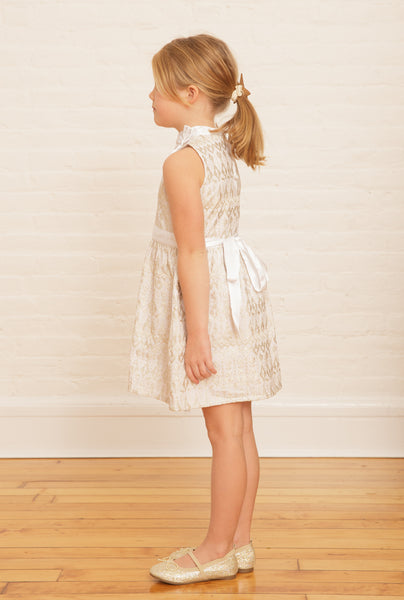 The Elizabeth Holiday Dress | White Winter Garden Embroidery | SAMPLE