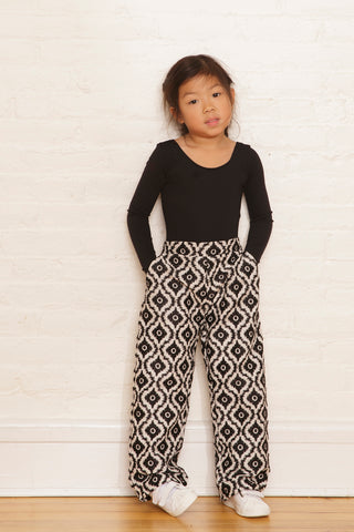 The Lara Pants in Black & White Ikat Embroidery