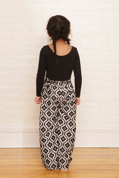 The Lara Pants in Black & White Ikat Embroidery - SAMPLE