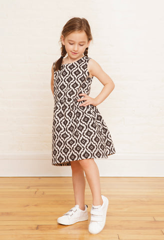 The Samantha Twirly Dress in Black & White Ikat Print