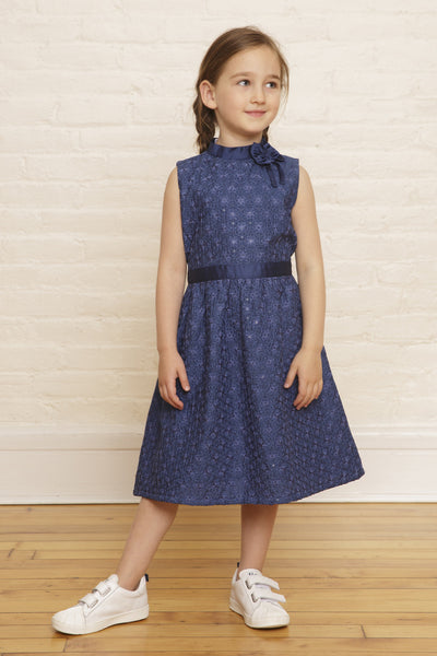 The Elizabeth Holiday Dress in Twilight Snowfall Sequined Embroidery - SAMPLE