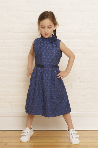 The Elizabeth Holiday Dress in Twilight Snowfall Sequined Embroidery