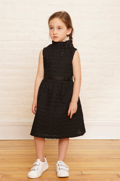 The Elizabeth Holiday Dress in Midnight Sequined Embroidery