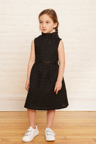 The Elizabeth Holiday Dress in Midnight Sequined Embroidery - SAMPLE