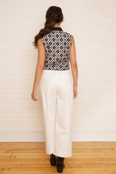 The Tabitha Top in Black & White Ikat Embroidery